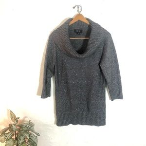BCX sparkly grey turtleneck sweater
